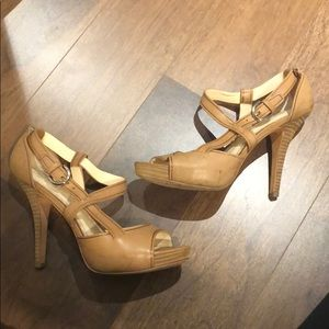 Camel Leather Coach Heels